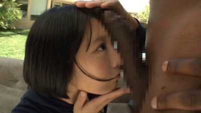 Pics of Miku Abeno comparing the size of her face to a black big cock