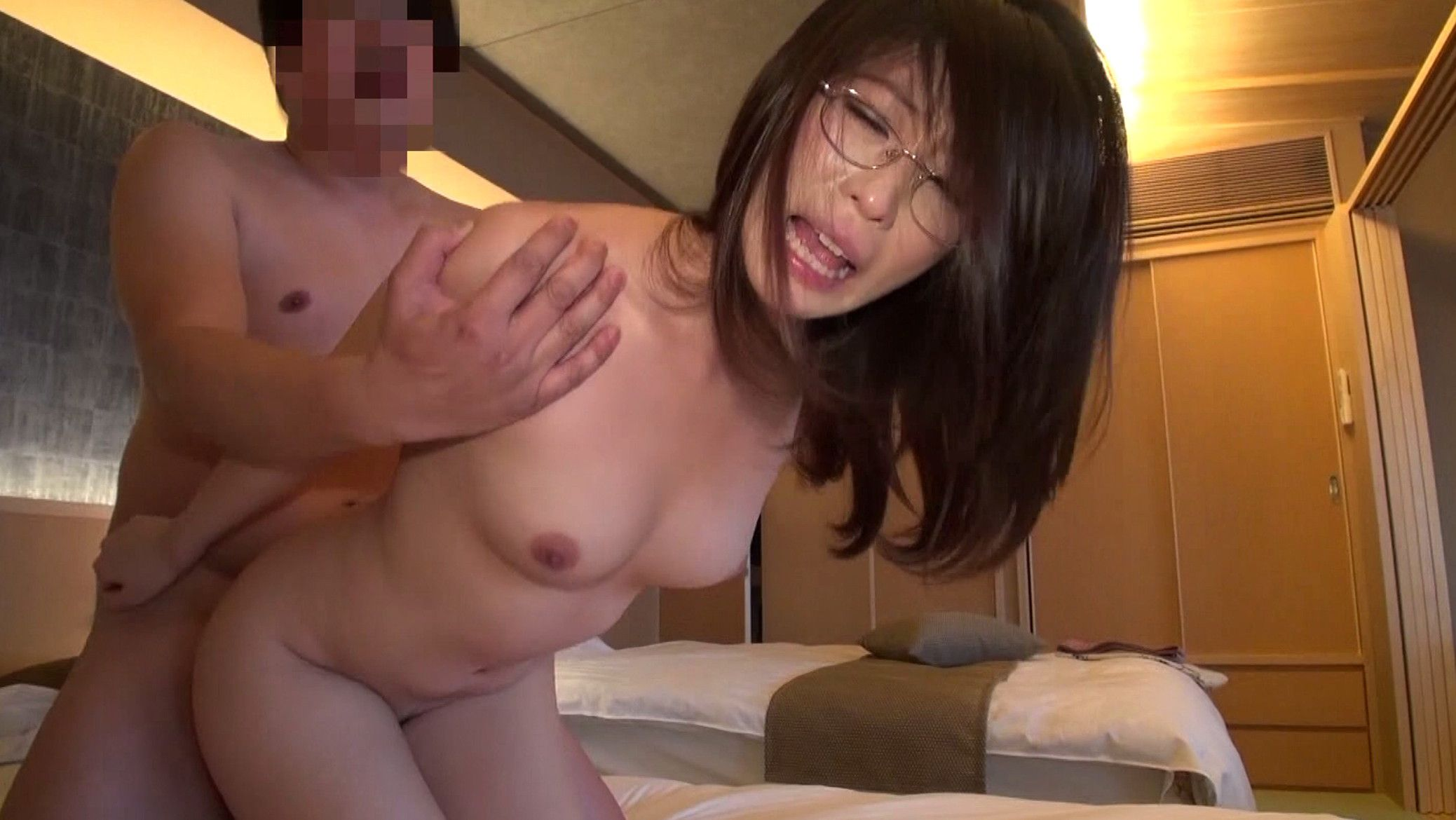 Image of Japanese wife wearing glasses having standing doggy style SEX