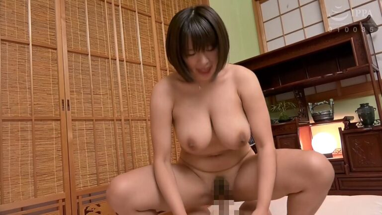 Porn pics of a Japanese girl with a plump body having cowgirl sex