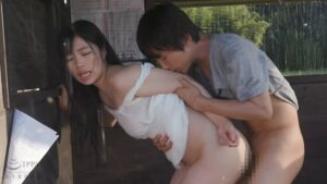Porn pics of Japanese pornstar Rika Tsubaki fucking standing doggy style