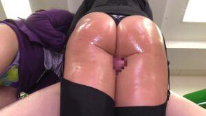 Porn pics of Japanese pornstar giving thighjob
