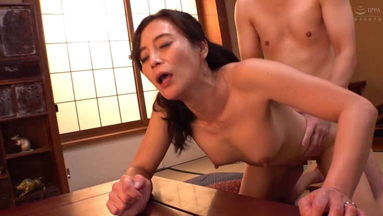 Porn pics of Japanese mature woman Rieko Hiraoka having sex in doggy style
