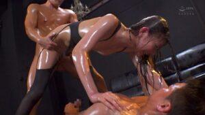Porn pics of Japanese pornstar Ema Shiiba oiling and having 3P fuck